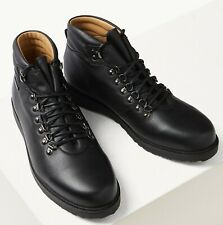 M&S Real LEATHER Waterproof LACE-UP Mens' CHUKKA BOOTS ~ Size 11 ~ BLACK