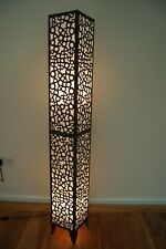Floor standing standard lamp in Metal And White Fabric - 120cm From Bali