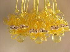 12 Yellow Pacifier Necklaces Baby Shower It's a Boy or Girl Games Prizes Favors