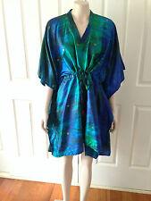NEW Silk Tie Dye Kaftan Kimono Shirt Festival Beach Resort Wear Size XS - M