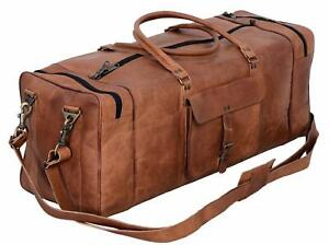 Large Handmade Brown Leather Vintage Travel Duffel Gym Weekender Overnight Bag