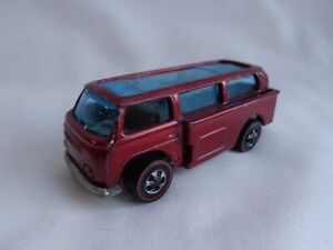 Vintage 1969 Hot Wheels REDLINE Beach Bomb VW Camper DARK RED / GREY Int RARE