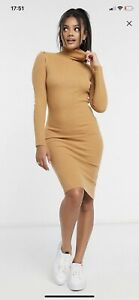 Brave Soul New With Tags Tan Bodycon Midi Jumper Dress Roll Neck Size 8 Small