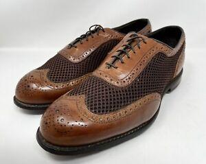 Allen Edmonds AE Double Eagle Brown Wingtip Golf Shoes Men's Sz 9.5 D