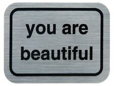 Two (2) You Are Beautiful Metallic Silver Stickers Decals