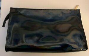 "Lancome shiny black patent makeup bag case gold zipper 9""x5.5""x1.5"" NWOT"