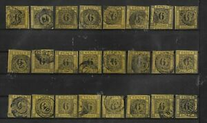 GERMAN STATES GRAND DUCHY OF BADEN 1850'S LARGE SET OF STAMPS USED