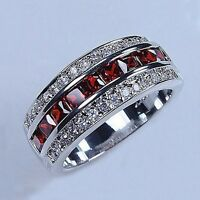 wedding ring  925 silver ruby & white zircon fashion Band jewelry size 6-10