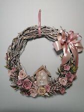 Easter wreath door decoration. Pink colour flower. Luxury. Handmade. d36 cm