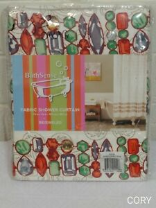 Home Decoration BathSense,LLC. FABRIC SHOWER CURTAIN BEJEWELED ONE PANEL NWP