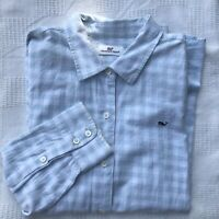 Vineyard Vines Button Down Whale Shirt Kids Size Large (16) Blue & White Gingham
