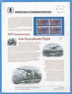 USPS Commémorative Panneau #76 Lindbergh Vol #1710