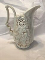 Red Wing Pottery Pitcher with Embossed Flowers No1186 USA ca 1940s Vintage