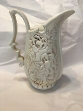 Vintage Red Wing Pottery Pitcher with Embossed Flowers No1186 Usa ca 1940s
