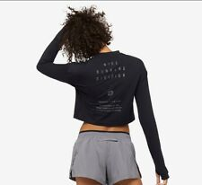 Women's Nike Run Division Long Sleeve Half Zip Cropped Running Top Size Medium