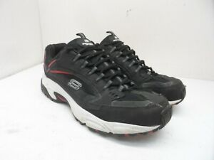 Skechers Men's Stamina - Cutback Athletic Training Sneakers Black/Red Size 12EW