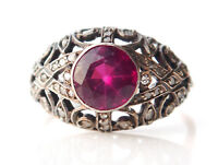 Antique Ring solid 10K Rose Gold Silver Tourmaline 34 Diamonds Ø US8.75 / 3.2gr