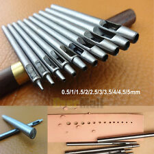 10 Pcs Hollow Punch Set Make Holes in Leather Rubber Canvas DIY Craft Hand Tools
