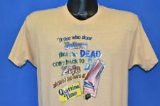 New listing vintage 80s DEAD COME BACK TO LIFE AT QUITTING TIME GLITTER IRON ON t-shirt M