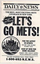 New York Mets -1986 LET'S GO METS - Daily News Promo - Includes Team Photo