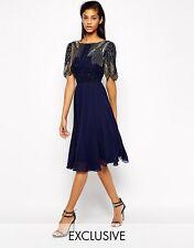 VIRGOS LOUNGE *sale* BLUE MIDI WEDDING COCKTAIL PROM PARTY DRESS