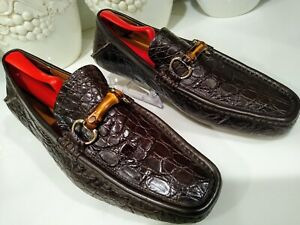 Gucci Crocodile Leather Men's Loafers Size 9 Rare Classic Dress Shoes Very Clean