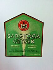 Saratoga Geyser Mineral Water Vtg Paper Label 1930's Bottled By New York State