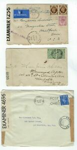Three Great Britain WWI or WWII Censored Envelopes,