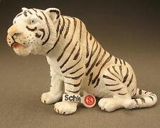 SCHLEICH 14097 - Tiger sitzend weiß - mit Fähnchen - White Tiger -Schleichtier 3