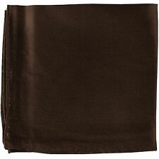 MANZO Men's Polyester Shiny Finish Pocket Square Hankie Only Brown