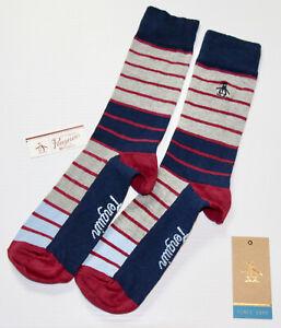 ORIGINAL PENGUIN Mens Navy Grey Red Striped  Socks > One Size UK 7-11 EU 41-46