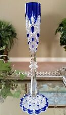 "BACCARAT TSAR CZAR Vintage 8"" Tall Cobalt Blue Cased Cut to Clear Cordial Glass"