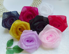 "2 "" Mix (8 Colors) Organza Ribbon Roses Flowers Appliques DIY - 8 Pcs (R0085Mix)"