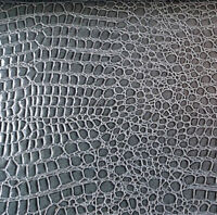 "Charcoal Gray Glossy Crocodile Upholstery Animal Vinyl Fabric 54"" By the Yard"