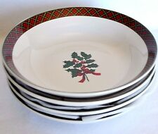 4 Sakura Holiday Greens Soup Cereal Bowls Stoneware Dishes Plaid Red Holly Berry