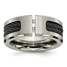 Chisel Titanium Black IP-plated Cable and Diamonds Polished/Brushed Band Ring TB
