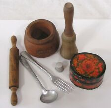 Vtg LOT Kitchen Miniatures Rolling Pin Pestle Utensils Lacquered Box Bean Pot