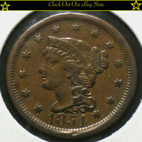 1854 U.S. Braided Hair Large Cent 1c Copper Penny