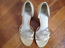 LADIES, WALLIS OPEN TOE, SHOES, SIZE 39, LEATHER UPPER, GOLD