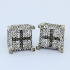 10k White Gold Black & White Diamond 3D Cube Screw Back Unisex Earring 1.50 CT