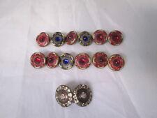 Lote de 12 botones metal y piedras colores+2 más plata y pedrería. Años 50