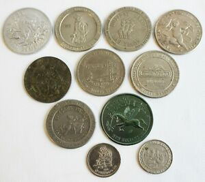 Lot of 11 Casino Tokens Caesars Holiday Central City Golden Gate Carson Valley