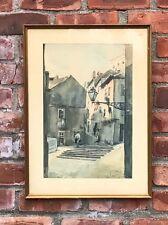 Signed Watercolor. Lisbon Portugal Artist Manuel Tavares. Street Scene 1964