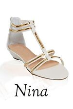 Ladies Womens Low Heel T-BAR Shoes Sandal White and Gold summer sandals