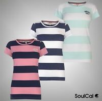 Ladies SoulCal Stylish Block Stripe Pattern T Shirt Crew Top Sizes from 8 to 16
