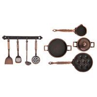 9pcs/set 1:12 Doll House Miniature Metal Strainer Pot Pan Kitchen Utensils