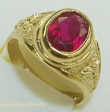 3 C man made Red Ruby Man's 14k solid yellow Gold jesus crucifix cross Ring S9.5