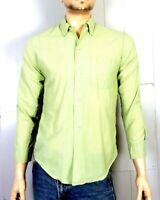 vtg 50s 60s Rockabilly Fine Green White Check Button Down Dress Shirt Oxford S