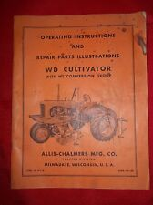 WD WC Allis Chalmers Cultivator Operators Setup Repair Operating Manual 48Pg
