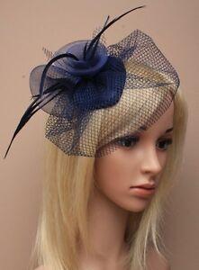 Navy Blue Feather Net Hair Fascinator Beak Clip Hair Clip Hat Races Wedding 20